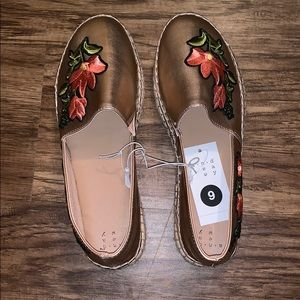 A New Day Rose Gold Espadrilles. NWT. Size 9.